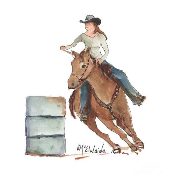 Painting - Barrel Racing Watercolor Painting Kmcelwaine Pe094 by Kathleen McElwaine