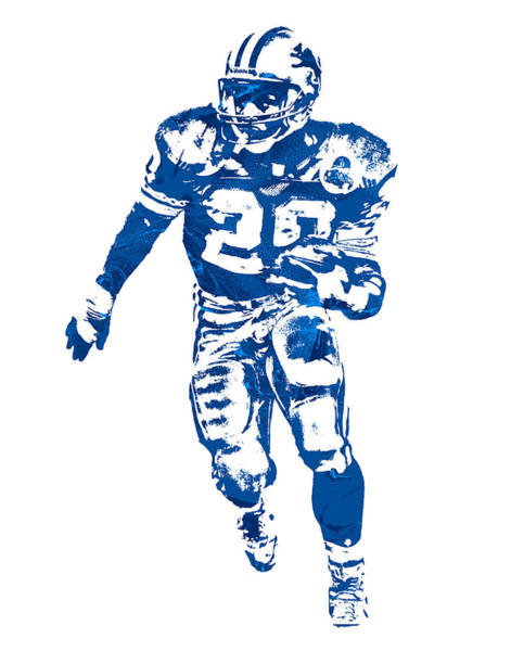 Wall Art - Mixed Media - Barry Sanders Detroit Lions Pixel Art 30 by Joe Hamilton