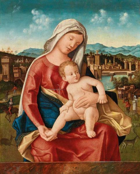 Wall Art - Painting - Bartolomeo Veneto  Documented From 1502 1531 Turin  Madonna And Child by Celestial Images