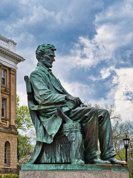 Photograph - Bascom Hall Lincoln Statue by Steven Ralser