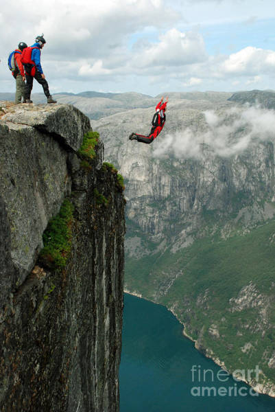 Courage Wall Art - Photograph - Base Jump Off A Cliff by Vitalii Nesterchuk