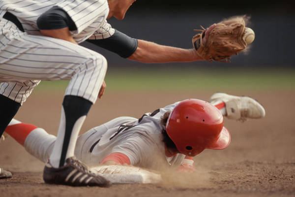 Sport Photography Photograph - Base Runner Sliding Into Base, Fielder by David Madison
