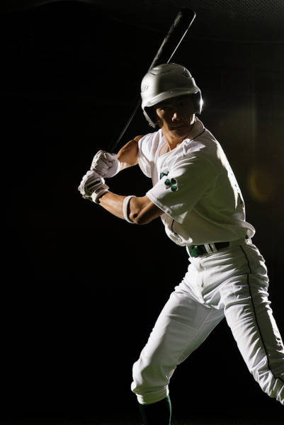 Bat Man Photograph - Baseball Batter In Batting Stance by Pm Images