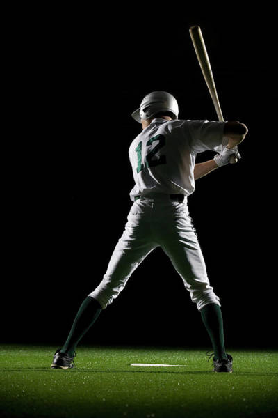 Bat Man Photograph - Baseball Batter In Batting Stance, Rear by Pm Images