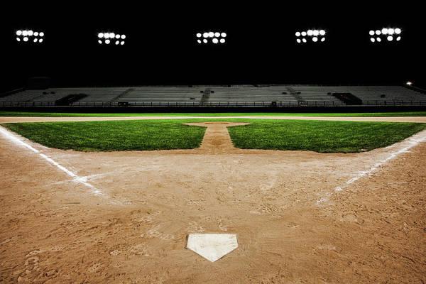 Softball Photograph - Baseball Diamond At Night by Jgareri