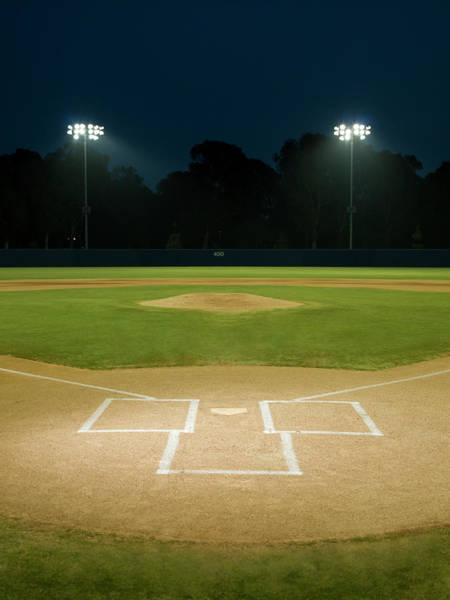 Team Sport Photograph - Baseball Field At Night by Whit Preston
