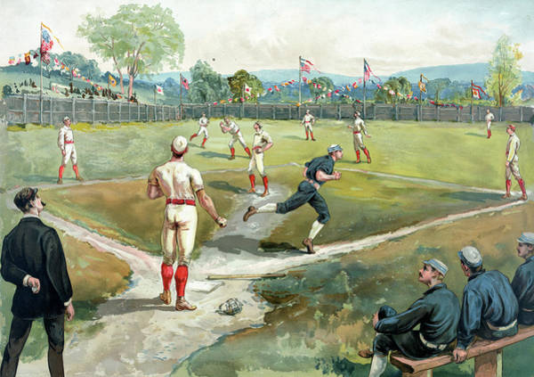 Fielder Photograph - Baseball Game In 1891 New York by Graphicaartis