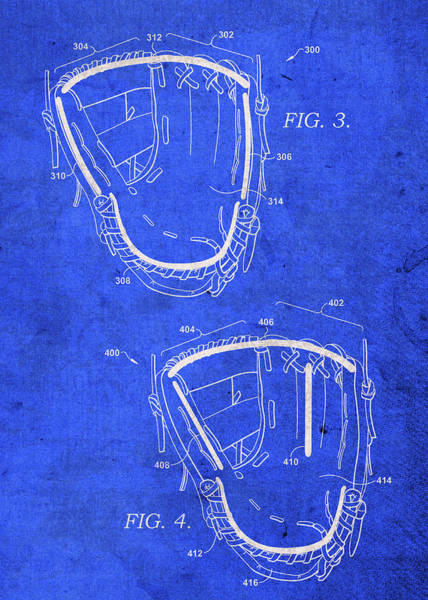 Patent Mixed Media - Baseball Glove Vintage Patent Blueprint by Design Turnpike