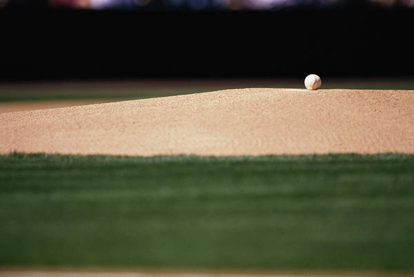 Ball Photograph - Baseball On Pitchers Mound by William R. Sallaz