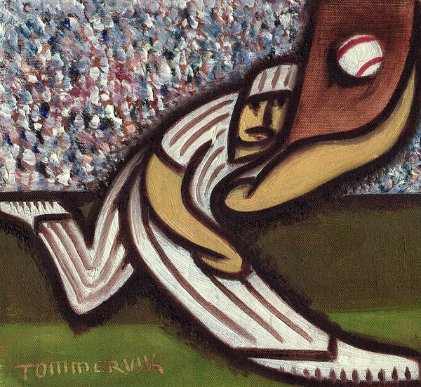 Painting - Baseball Outfielder Catching Fly Ball Art Print by Tommervik