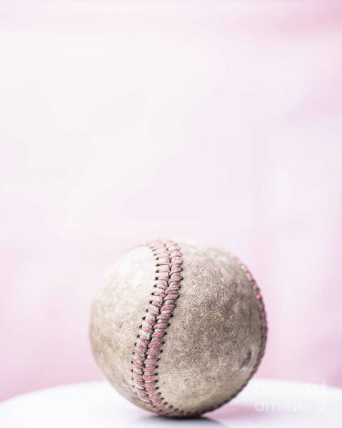 Photograph - Baseball Pink Background by Edward Fielding