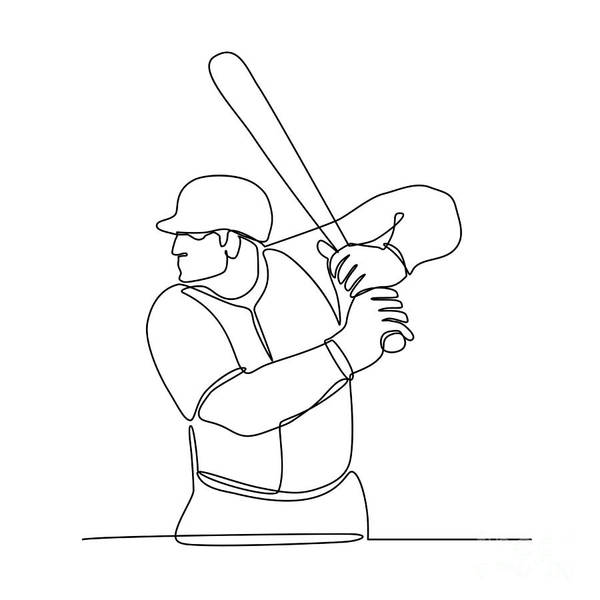 Wall Art - Digital Art - Baseball Player Batting Continuous Line by Aloysius Patrimonio