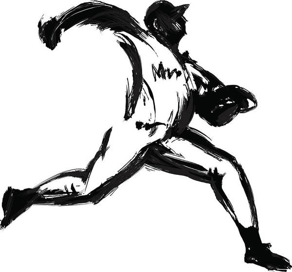 Sport Digital Art - Baseball Player, Pen And Ink by Daj