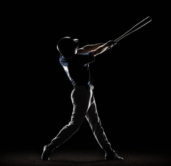 Helmet Photograph - Baseball Player Swinging Bat by Lewis Mulatero