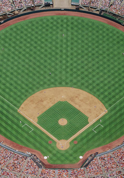 Fielder Photograph - Baseball Stadium During Game, Aerial by David Madison
