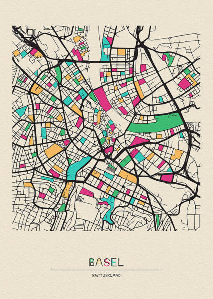Drawing - Basel, Switzerland City Map by Inspirowl Design