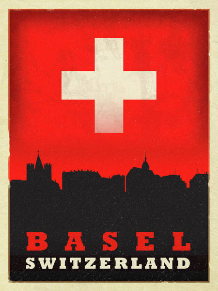 Wall Art - Mixed Media - Basel Switzerland World City Flag Skyline by Design Turnpike