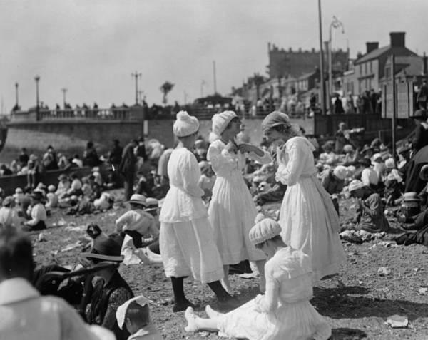 Southend Photograph - Bashful Bathers by Topical Press Agency
