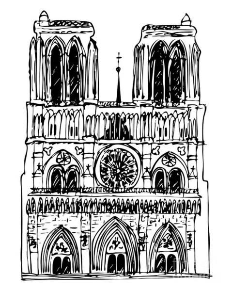 Tourism Wall Art - Drawing - Basilica Notre Dame by Michal Boubin