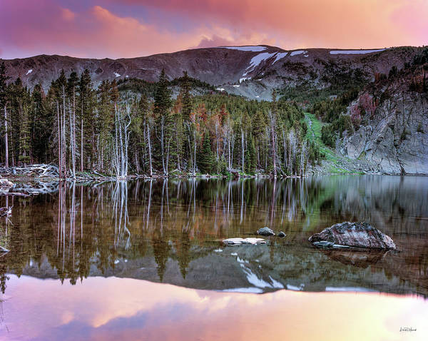 Photograph - Basin Lake Sunset by Leland D Howard