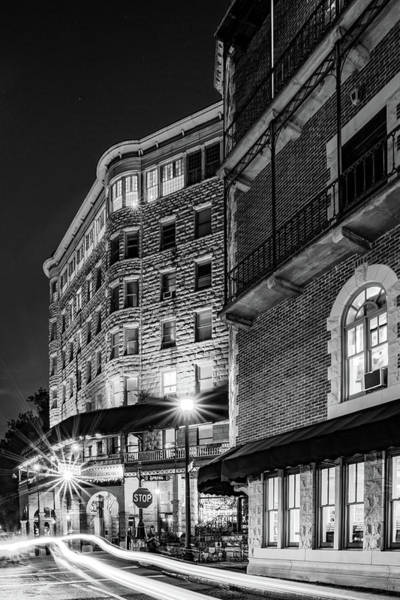 Photograph - Basin Park Hotel In Downtown Eureka Springs Arkansas - Monochrome by Gregory Ballos
