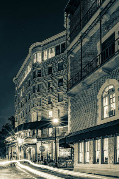 Photograph - Basin Park Hotel In Downtown Eureka Springs Arkansas - Sepia by Gregory Ballos