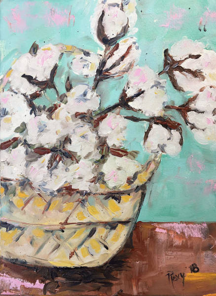 Contemporary Painting - Basket Of Cotton by Roxy Rich