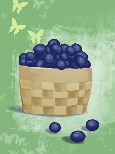 Object Digital Art - Basket Of Fresh Blue Berries by Don Bishop