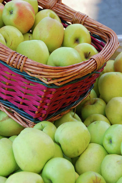 Retail Photograph - Basket Of Green Apples At Fruit Stand by Danita Delimont