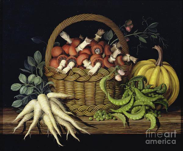 Wall Art - Painting - Basket Of Mushrooms by Amelia Kleiser