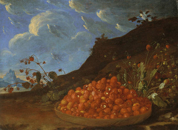 Painting - Basket Of Wild Strawberries In A Landscape by Luis Melendez