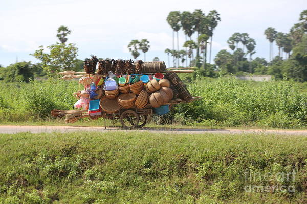 Wall Art - Photograph - Basket Street Vendor Cambodia  by Chuck Kuhn