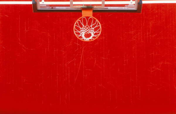 Court Photograph - Basketball Basket And Court, Overhead by Doug Pensinger