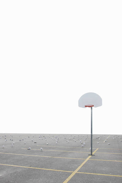 Parking Lot Photograph - Basketball Net In Parking Lot by Vast Photography