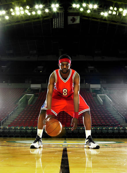 Headband Photograph - Basketball Player Dribbling Basketball by Ryan Mcvay