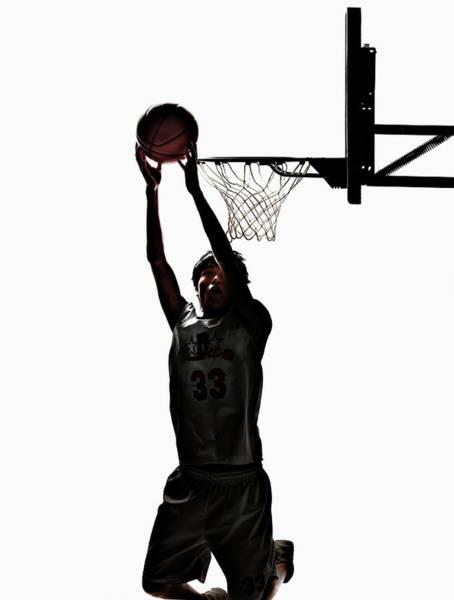 Basketball Player Shooting At Goal Art Print