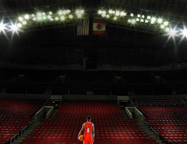 Court Photograph - Basketball Player Standing On Court by Ryan Mcvay
