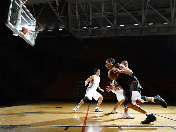 Court Photograph - Basketball Players Playing In Indoor by D Miralle