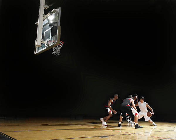 Court Photograph - Basketball Players Playing On Court by D Miralle