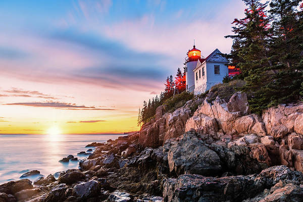 Photograph - Bass Harbor Head Lighthouse At Sunset, In Maine by Mihai Andritoiu