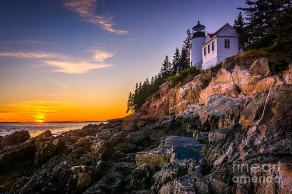 Cliffs Wall Art - Photograph - Bass Harbor Lighthouse At Sunset, In by Jon Bilous
