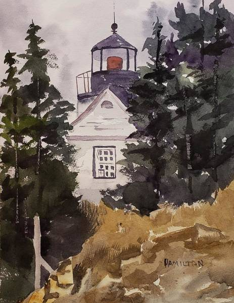 Painting - Bass Harbor Lighthouse by Larry Hamilton