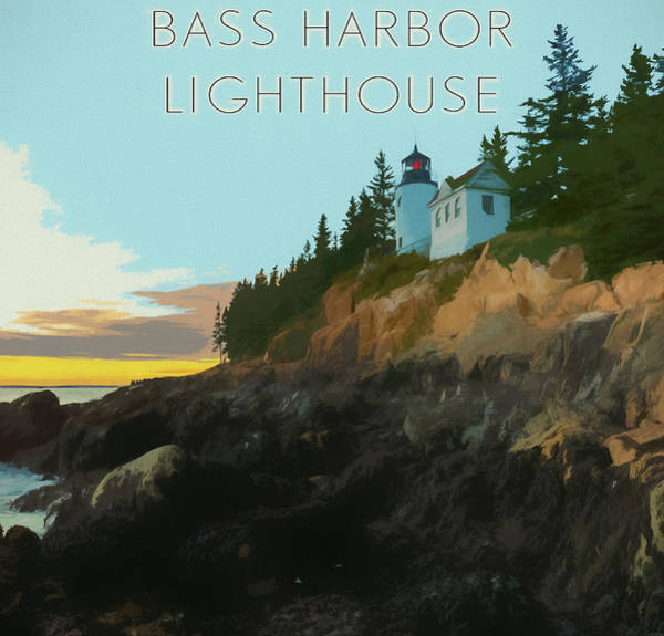 Digital Art - Bass Harbor Lighthouse Poster by Dan Sproul