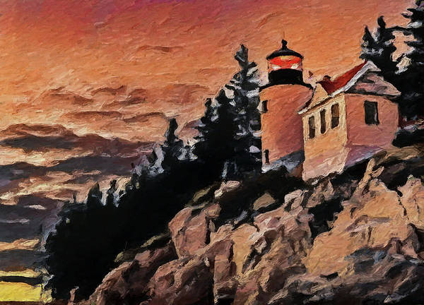 Wall Art - Painting - Bass Harbor Sunset by Dan Sproul