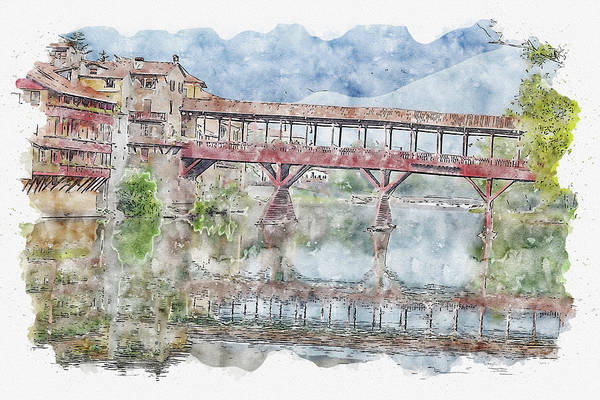 Wall Art - Digital Art - Bassano Del Grappa #watercolor #sketch #bassano Del Grappa #river by TintoDesigns