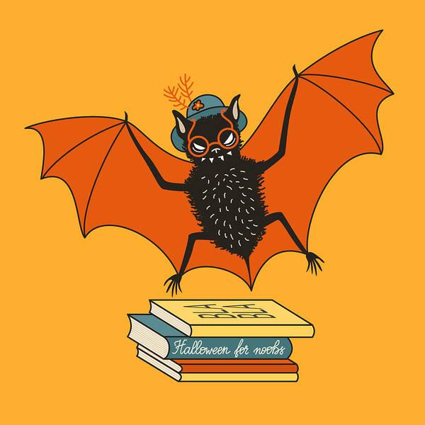 Reader Digital Art - Bat Granny Librarian Book Lover  by Boriana Giormova