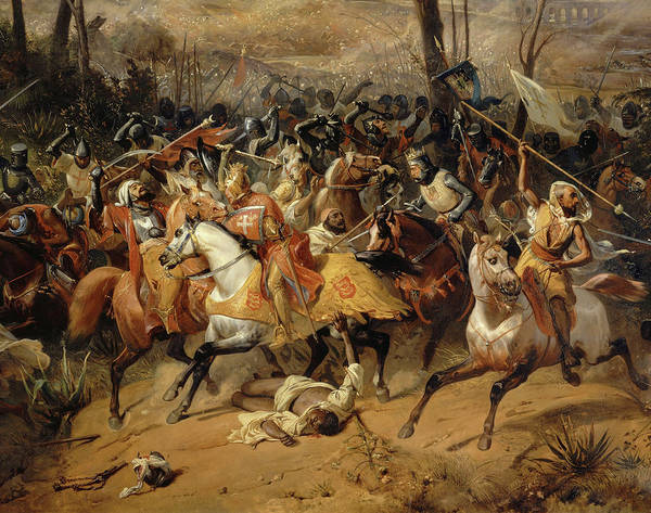 Wall Art - Painting - Bataille D'arsuf, 1191, Richard Coeur De Lion by Eloi Firmin Feron