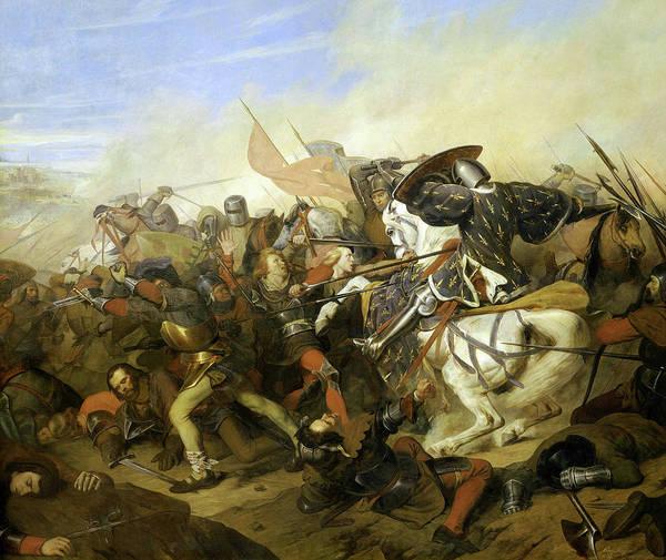 Wall Art - Painting - Bataille De Cassel, 1328 by Henry Scheffer