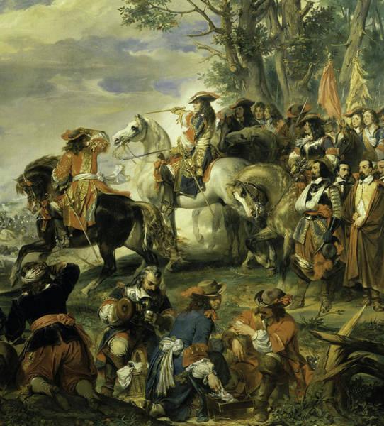 Wall Art - Painting - Bataille De La Marsaille Remportee Par Le Marechal De Catinat, 1693 by Eugene Deveria