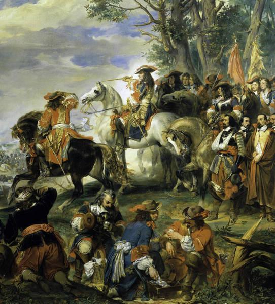 Wall Art - Painting - Bataille De La Marsaille Remportee Par Le Marechal De Catinat by Eugene Deveria